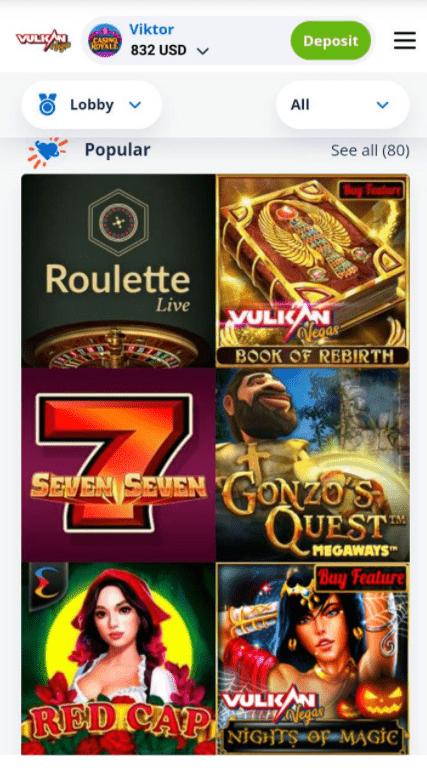 vulkan vegas casino app
